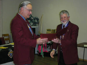 KOFC 4949 VIP Arward for Sir Knight David Elrick presented by Grand Knight Guenter A. Rieger.