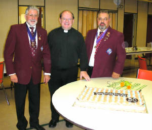 KOFC4949 50th Birthday Father Dale with GK Guenter A. Rieger an Deputy Grand Knight. Click on picture to watch video