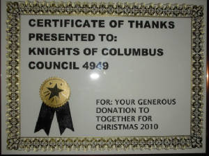 KOFC 4949Together for ChristmasThank Certificate. KOFC4949 donated $1000 for the event